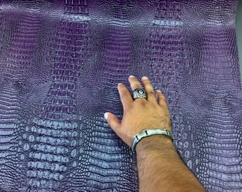 Purple crocodile faux leather vinyl embossed fabric scales-upholstery-decorations-Sold by the yard.