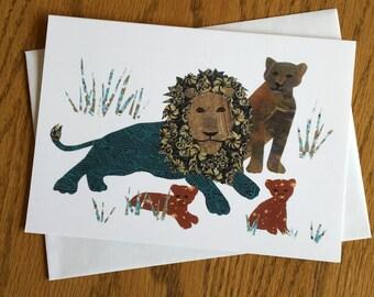 Lion Family, Lion Card, African card, Animal Card, cut paper art, nursery, kids, african art, children card