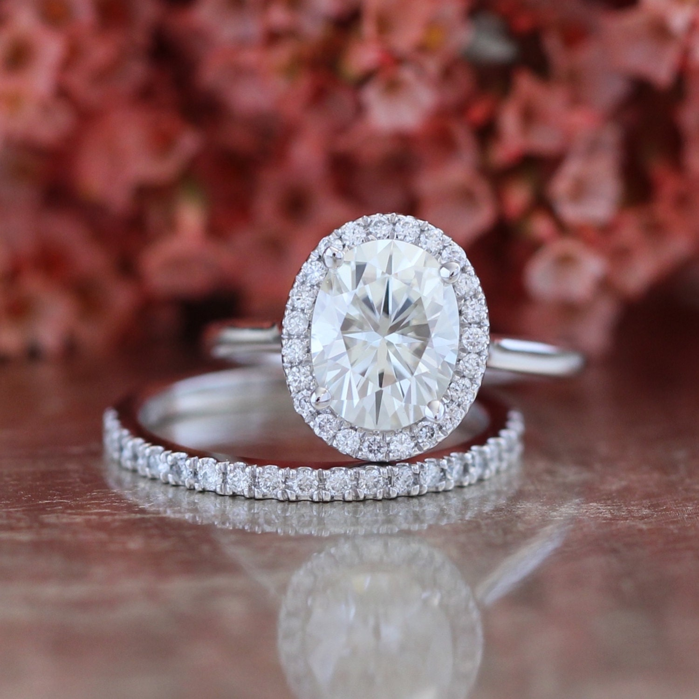 Moissanite Engagement Ring and Diamond Wedding Band Bridal Set