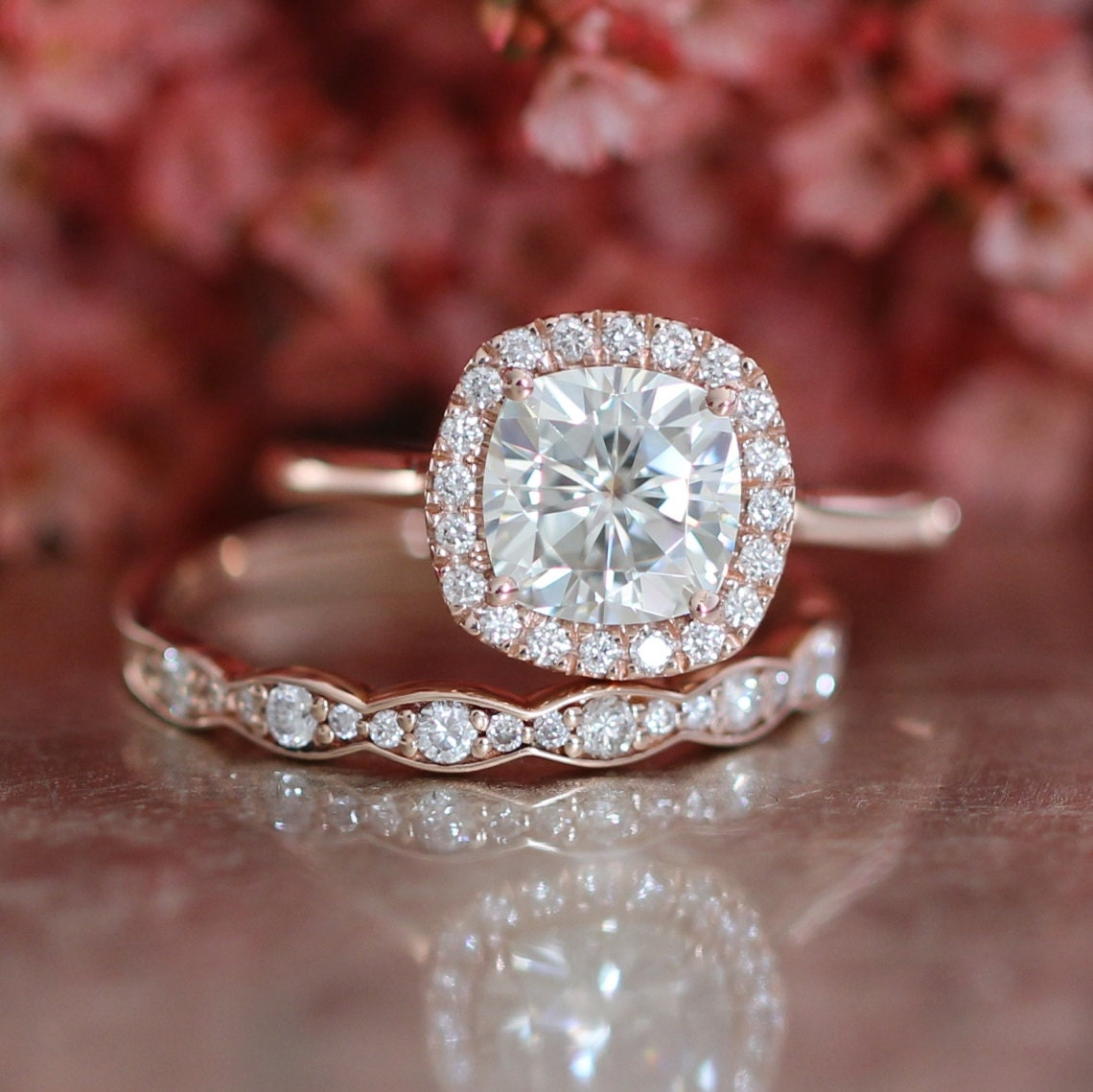 Cushion Moissanite Engagement Ring And Scalloped Diamond