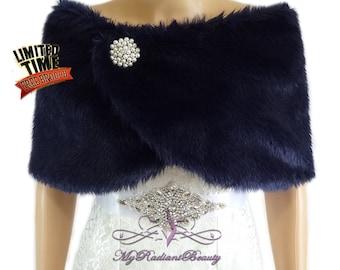 Wedding Fur Shrug, Navy Blue Fur Cape, Faux Fur Wrap, Bridal Shawl, Wedding Stole, Bridal Wrap, Fur Stole, Fur Wrap FW108-NBLUE