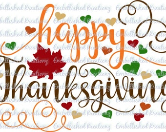 Thanksgiving/'Happy Thanksgiving' with Swirls/Hearts/Leaves Vinyl Decal/Glass Block/Canvas/Tumbler