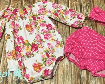 Baby girl long sleeve floral romper, polka dot rouched/elastic leg shorts and matching top knot headband