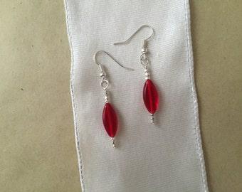 Handmade Red glass dangle earrings