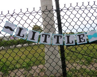 "Bowtie & Mustache - ""Little Man"" Banner - Teal, Grey Chevron, and Black"