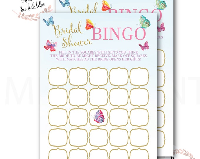 Butterfly Bridal Shower Bingo // Butterflies  // Games // Yellow // Pink // Mint // Gold Glitter // Printed // CORDOBA COLLECTION