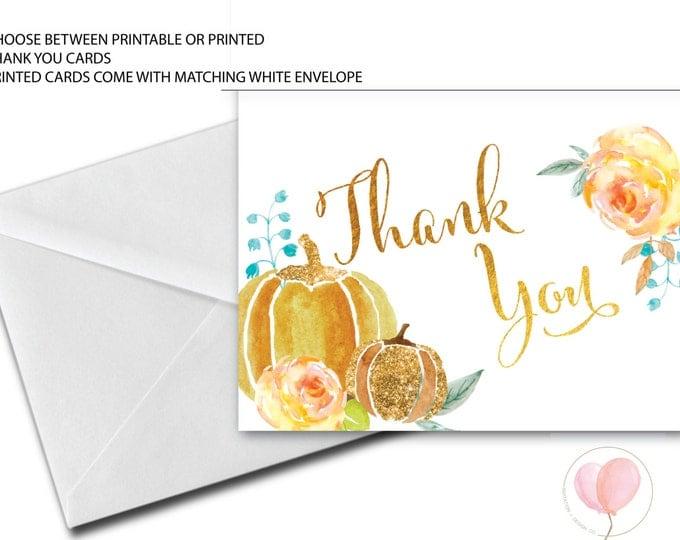 Fall Thank You Card // Pumpkin Thank You Card //A7 Thank you Card // Autumn // Watercolor // Faux Gold Foil // CAPE BRETON COLLECTION