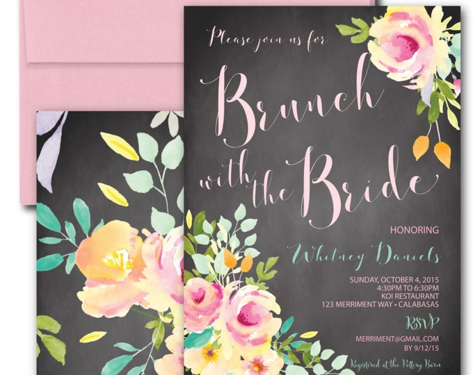 Chalkboard Brunch with the Bride Invitation // Brunch & Bubbly // Watercolor // Roses // Mint // Pink // Yellow // VENICE COLLECTION