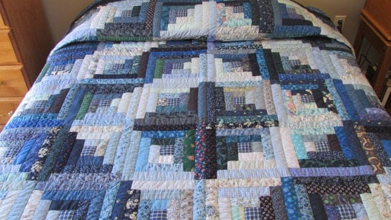 Log Cabin Quilt Pattern Free Queen Size : Log Cabin Quilt Hand Made Quilt Queen Size by QuiltedTreasureCo