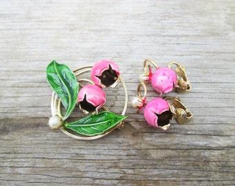 Bright Pink Bell Flowers Enamel Metal Flower Brooch Earrings Demi Parure Set