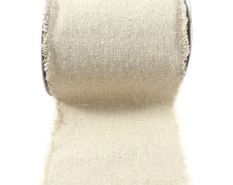 Solid Linen Ribbon with Fringe Edge, 10 Yards