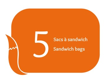 Value pack of 5 reusable sandwich bags and reusable snack bags at your choice, eco friendly alternative packaging for lunch