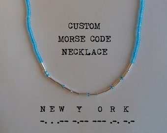 One Custom Morse Code Necklace - Long Distance Relationship/Family/Place/Date - Silver - Strand/Ring/Bead Style