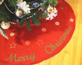 Christmas Tree Skirt, Modern Tree Skirt, Christmas Festive, Red Tree Skirt, Xmas Tree Skirt, Xmas Decor, Holiday Tree Skirt, Festive Stars