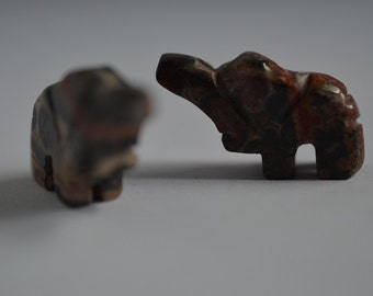 Vintage Hand Carved Leopardskin Jaspser Elephant Fetish Beads. LIMITED QUANTITY Lot of 10 (2040077A)*