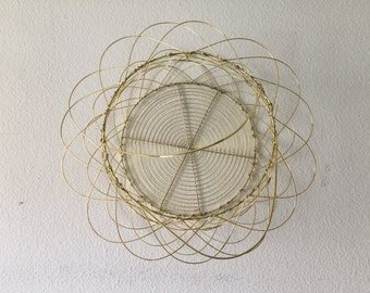 Large Vintage Collapsible Gold Wire Baske Wall Decor