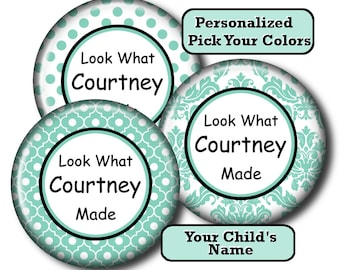 Set of 3, Child's Artwork Magnet, Children's Art Magnet, Kid's, Personalized Magnet, Display, Refrigerator Fridge, Gift for Mom, Damask