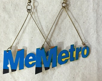 Metrocard Earrings (Single) Handmade