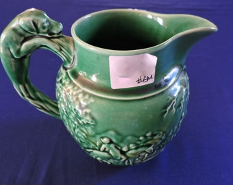 "Wedgewood of Etruria & Barlaston Cream Green Pitcher Hunt Scene 4 1/2"" high"