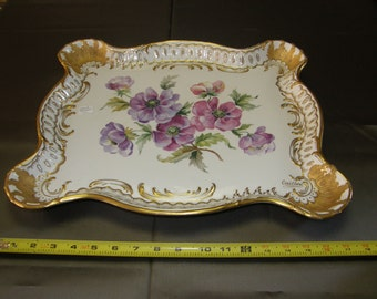 HAND PAINTED CHINA Dresser or Tea Service Tray Signed Bavarian? French?