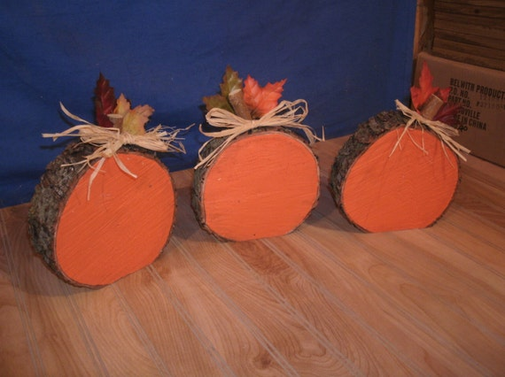 Wooden Pumpkins Log Slice3 Rustic Log Pumpkin Set Wood