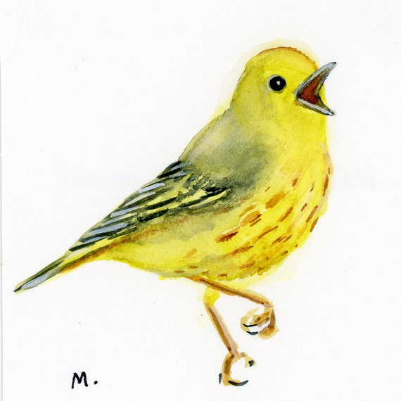 "Yellow Warbler - Watercolor - 4"" x 4 1/2"""