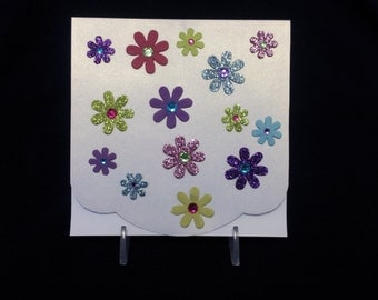 Shimmery Floral Note Card
