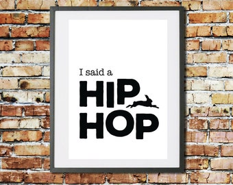 Instant Printable Digital Download. Easter Wall Decor. Bunny Hip Hop Quote. Typographic Print. Monochrome Home Decor