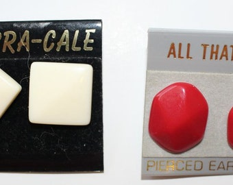 Earrings Pierced Lucite Set of 2 White Squares and Red Ovals on Original Plastic Cards
