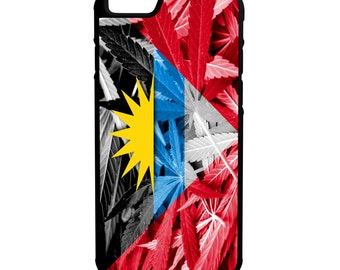 Antigua and Barbuda Weed Flag iPhone Galaxy Note LG HTC Hybrid Rubber Protective Case