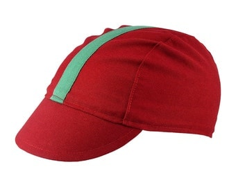 Red/green-stripe cotton cycling cap - handmade cap; bike cap; bicycle cap; cotton cap; cycling clothes; bike wear