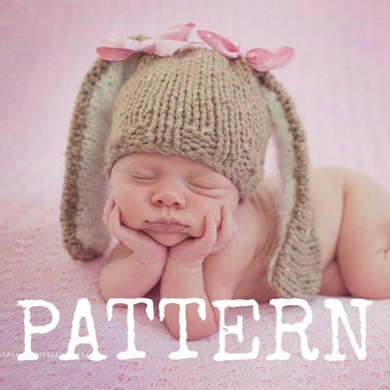 Baby Bunny Hat Knitting Pattern : Baby Bunny hat Knitting PATTERN Newborn by CraftyStuffBabyHats