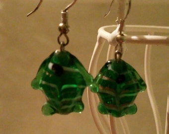 Handmade green fish earrings