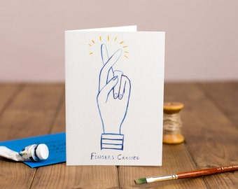 Good Luck Card - fingers crossed, exams, test, illustrated pen and ink line drawing card