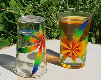 Rainbow Weed Shot Glass