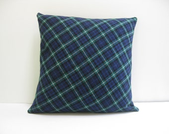 18x18 Navy Wool Plaid Pillow Cover