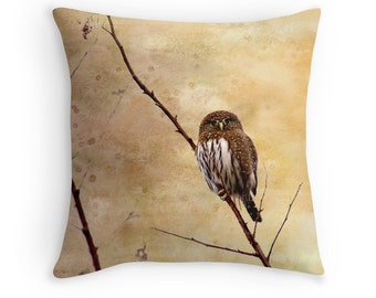 Owl Cushion, Owl Gifts, Owl Decor, Owl Throw Pillow, Little Owl, Pygmy Owl, Nature Gifts, Wildlife Cushions, Bird Decor, Raptors,Bird Pillow