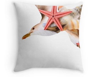 Beach Decor, Sea Gull Cushion, Seashells Pillow, Starfish Cushion, Sea Gull Pillow, Seagull Throw Pillow, Beach Cushion, Pillow Seashells