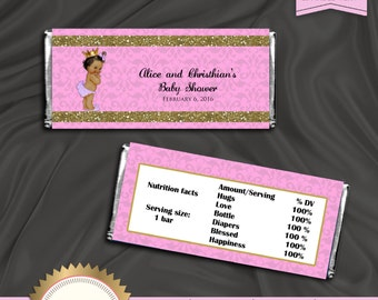Printable Candy Bar Wrapper, Hershey's Chocolate Wrapper, Little Princess, Royal Baby Girl, EDITABLE text, DOWNLOAD Instantly, Word Format