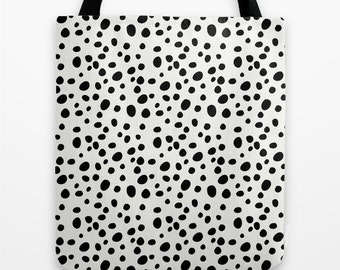 Dalmatian Tote Bag - Tote Bag - Totebag - Book Bags for Girls - Girls Tote Bag - Black and White - Bookbag - Market Tote - Gift Idea for Her