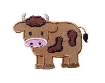 Boy Cow Applique Machine Embroidery Digital Design Bull Cattle