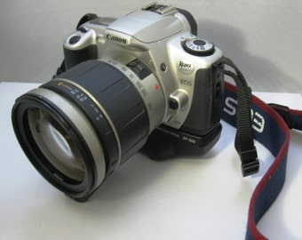 Canon EOS Rebel 2000 Student SLR Film Camera with Canon BP-200 Battery Pack/Drive and Tamron Lens