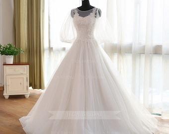 Illusion Bateau Neckline Medieval Wedding Dress Fairy Wedding Dress Celtic Wedding Dress Renaissance Wedding Gown W1034