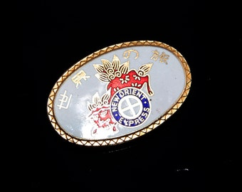 New Orient Express White/Red/Blue  Enameled Vintage Pin