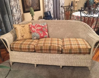 Vintage White Wicker Sofa
