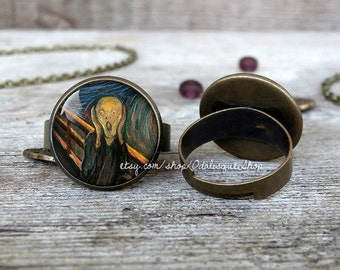 The Scream Ring Edvard Munch Adjustable Ring Der Schrei Der Natur Art Jewelry Birthday Gift br02