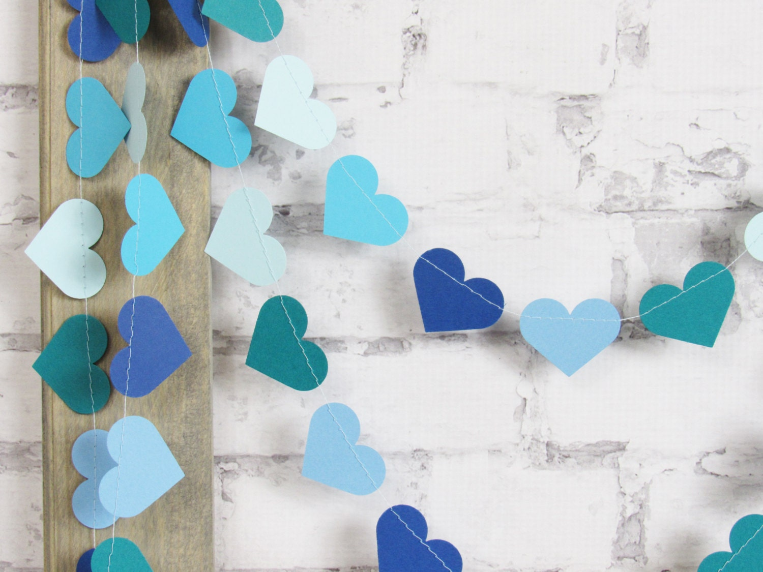 Blue and Teal Heart Garland - Blue Paper Garland - Photo Prop ...