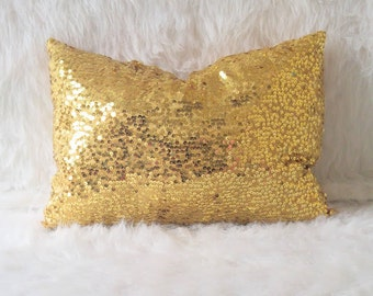 Gold Sequin Pillow- Lumbar Pillow- Throw Pillow- Home and Decor, Sequin Pillow, Spring Decor, Home Decor, Office Decor