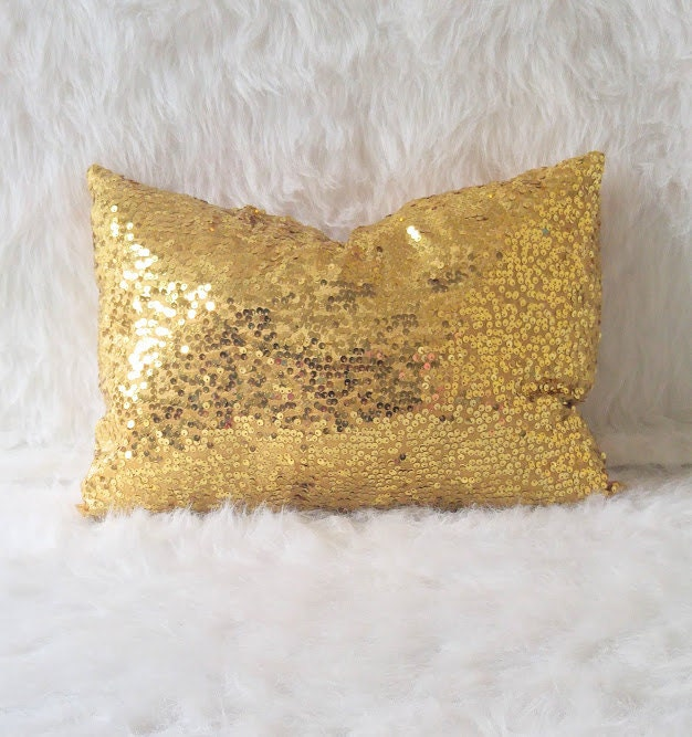 gold sequin pillow lumbar pillow throw pillow home and decor sequin pillow - Gold Decorative Pillows