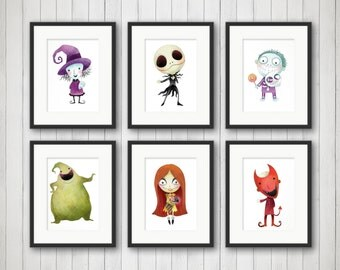 Nightmare Before Christmas Print   Halloween Decor   Nightmare Before  Christmas Wall Art   Halloween Wall